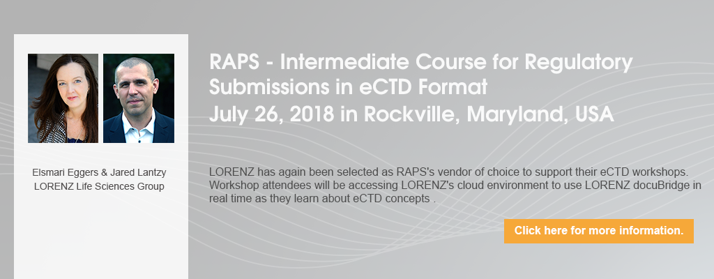 RAPS - Intermediate Course for Regulatory Submissions in eCTD Format - July 2018