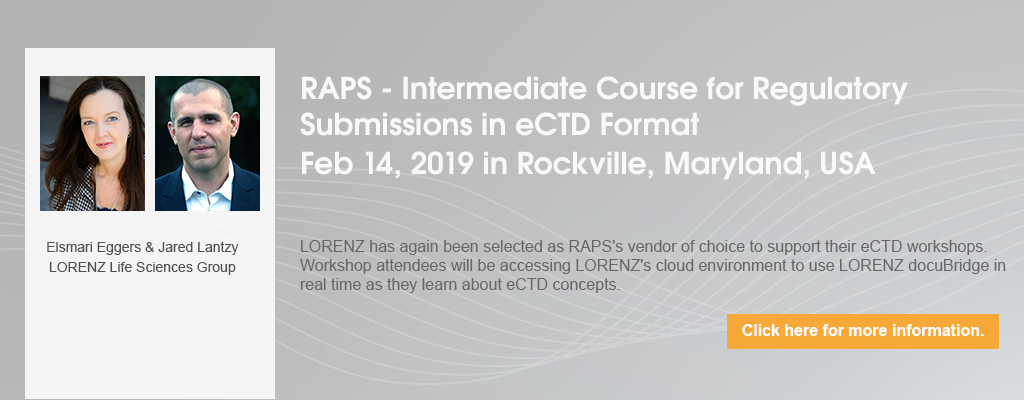 RAPS - Intermediate Course for Regulatory Submissions in eCTD Format - February 2019 - Rockville, Maryland, USA
